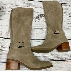 """MARC FISHER """"RILEY"""" Taupe Suede Tall Boots 8M"""